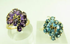 CLUSTER RING 10KT SOLID GOLD BLUE TOPAZ / AMETHYST STONE RING $429.00 RETAIL