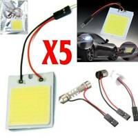 5Pcs 48 SMD COB LED T10 4W 12V White Light Car Interior Panel Light Dome Kit