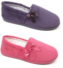 Ladies Womens Teens Pink Purple Washable Moccasin Slippers Girls Mules Size 3-8