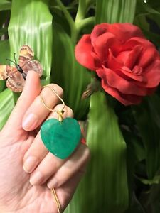 LARGE NATURAL ZAMBIAN EMERALD HEART NECKLACE PENDANT CHAIN 18K GOLD AND 925 SS
