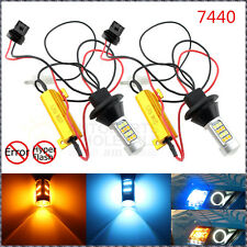 2 × Error Free Dual Color 7440 T20 Switchback LED Bulbs Turn Signals Or DRL