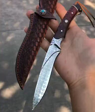 JAPANESE DAMASCUS HUNTING KNIFE CAMPING FIXED BLADE RESCUE FULL TANG SNAKEWOOD