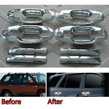 Chrome Car Door Handle + Bowl Cover Trims Overlay Garnish For Santa Fe 2001-2015