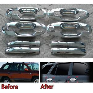 Chrome Car Door Handle + Bowl Cover Trims Overlay Garnish For Santa Fe 2001-2015