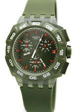 New Swatch Green Hero Chronograph Date Silicone Band Men Watch SUIG401 $120