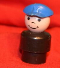 VINTAGE FISHER PRICE LITTLE PEOPLE WHOOPS BOY BLACK BODY BLUE CAP