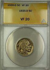 1935-D Buffalo Nickel 5c Coin ANACS VF-20