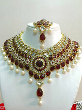 Indian Designer Bollywood Gold Plated Maroon Fashion Bridal Jewelry Necklace Set
