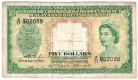 Malaya British Borneo Banknote 5 Dollars 1953 P2 Fine Queen Elizabeth Free Post