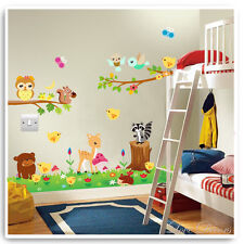 Animal Owl Wall Stickers Jungle Zoo Nursery Baby Kids Bedroom Decals Art Mural