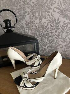 Bally Cream And Black Leather Bow Detail Women's Designer Heeled Shoes UK6, EU39