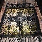 Antique Black & Gold Brocade Tapestry with Temple &  Fringe- Boho
