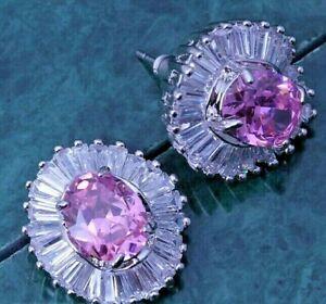 2cm Oval Pink Sapphire & CZ Baguettes Silver Drop Earrings
