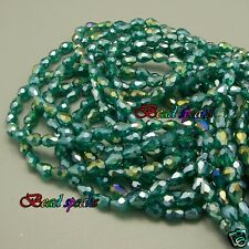 40 pcs 7×5 mm Small AB Peacock Green Faceted Teardrop Glass Crystal Beads CS232