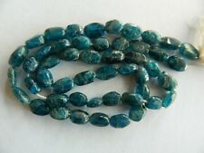 Apatite, Natural Finish, Teal Blue Flattened Oval Beads, 38.5cm Strand