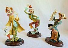 Lot of 3 resin clown figurines circus rabbit hat umbrella curtsy fun imperfect