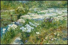 The Water Garden by Childe Hassam Painting Wall Art - Top Quality Canvas Print
