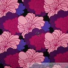 BonEful Fabric FQ Cotton Woven Canvas Decor Black Purple Pink Flower Retro Color