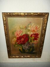 Old oil painting,{ Beautiful flowers, signed Van den Berg 1925, nice frame! }.