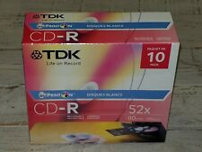 New! TDK CD-R 52X 80 Min 700MB PRINT ON 10 Pack FACTORY SEALED! FREE SHIPPING!