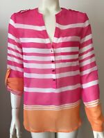 Apt 9  Womens XS Popover Top Sheer Pink Orange White Stripes  Roll Tab Sleeves