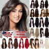 Women Curly Long Straight Wavy Full Wig Black Brown Hair Cosplay Party Costume F