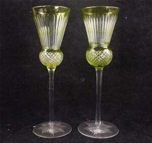 FINE PAIR ANTIQUE URANIUM VASELINE OVERLAY CUT TO CLEAR WINE GLASSES