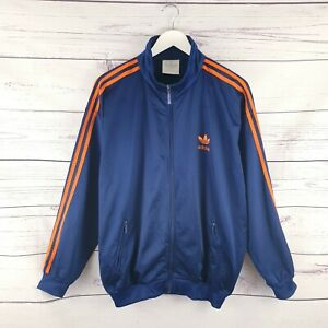 Vintage Adidas Originals 90s Mens Blue Orange Three Stripe Track Jacket Size L