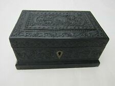 Ornately Carved Anglo-Indian Solid Ebony Box, Mid 19th Century