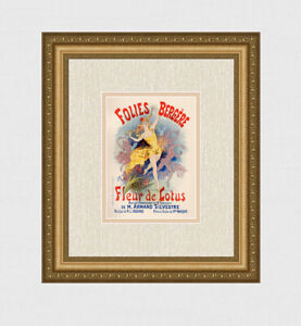 """1896 Jules CHERET Lithograph """"Folies Bergere"""" Gallery Framed SIGNED Limited COA"""