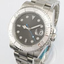 41mm PARNIS gray dial silver Ceramic bezel date luminous automatic mens watch 01