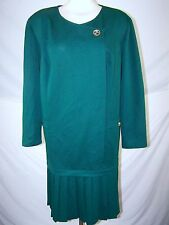 Leslie Fay Green Vintage Knee Length Pleated Dress Womens Plus Size 24W 3X