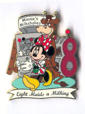 DLR - 12 Days of Christmas 24K Gold Set Eight Maids a Milking - Minnie pin LE 12