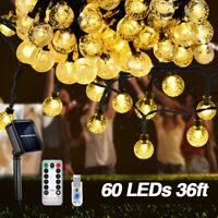 36ft 60 LED Solar Fairy String Light Copper Wire Outdoor Waterproof Garden Decor