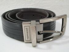 Mens Pierre Cardin Black and Brown Reversible Leather Belt Size 34 Silver Buckle