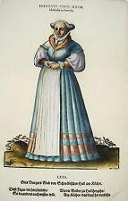 Jost Amman Tracht Schwäbisch-Hall prachtvoll kolorierter Holzschnitt 1577
