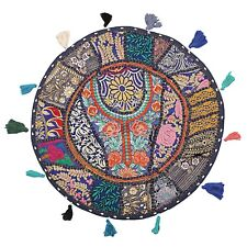Ethnic Vintage Round Patchwork Floor Cushion Cover Couch Bohemian Cotton 22x22