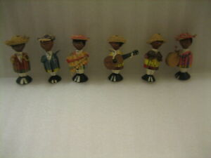 VERY COOL SET OF 6 Hand Carved MARIACHI BAND MEXICAN FIGURINES MUSICIANS