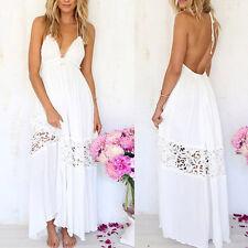 Long Maxi Evening Party Dress Women Boho Lace Sundress Summer Beach Dresses