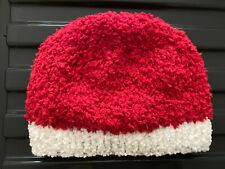 NEW HAND KNITTED BABY BEANIE HAT RED & WHITE SNOWFLAKE FLUFFY AGE 0 - 3 MONTHS