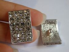 2 large crystal buttons rhinestone diamante upholstery sewing silver UK 03