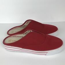 Balloons Red Canvas Sneaker Shoes Size 8 Slip In Mules Deck Boat Stripe USA