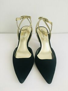 Kelly & Katie Black Suede with Gold Bow Ankle Slingback Heels Shoes Sz 8.5 M