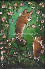 Welsh Pembroke Corgi Painting Dog Puppy Garden Roses Original Canvas Art Gift