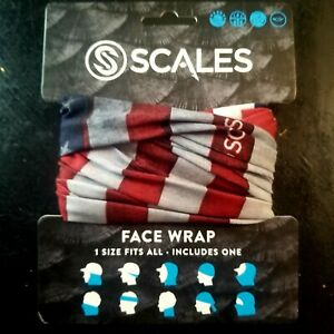 Scales Gear Fishing UV Sun Mask Face Wrap, American Flag Print, One Size