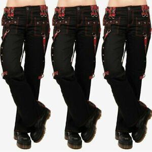 ❤️Womens Gothic Punk Long Cargo Pants Overalls Ladies High Waist Casual Trousers