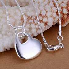 Heart in Heart Pendant & Necklace.Silver Plated 46cm 18 inch Chain.925 Sterling
