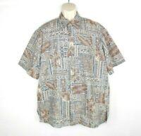 Cooke Street Mens Hawaiian Camp Shirt Size XL Geometric Tiki Brown Blue
