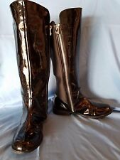 "Michael Kors Black Patent Leather & Stretch Material Rider Boot Size 3 .75"" Heel"