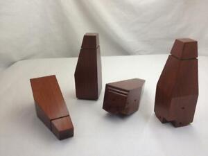 "Brown Tapered Wood Sofa Couch Chair Ottoman Furniture Leg Feet, 5-3/4"", 4 Legs"